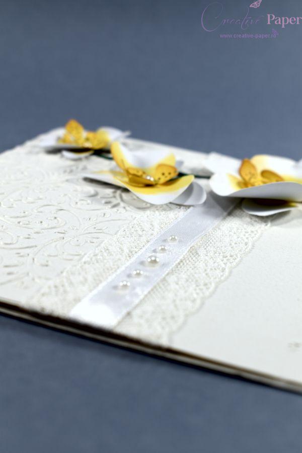 Invitatii Nunta Flori Hartie Orchidee