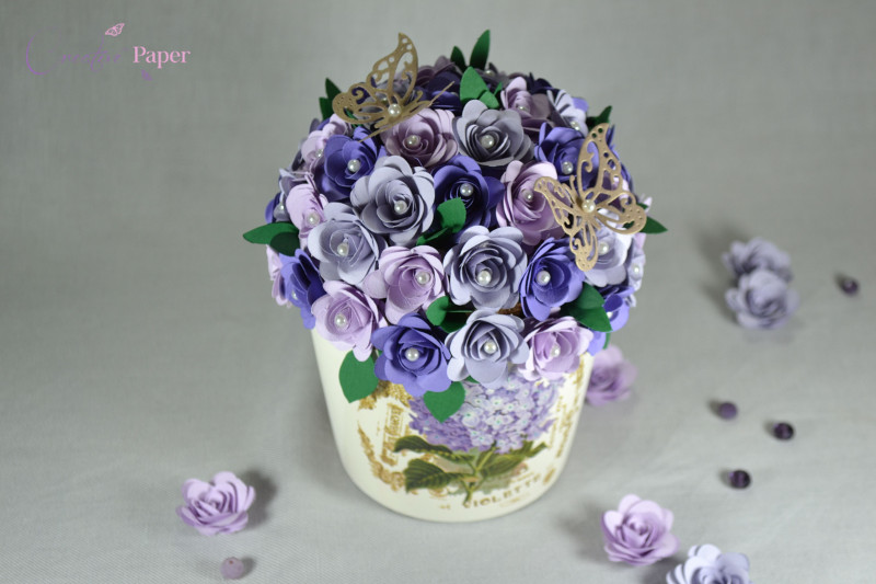 Ghiveci cu Flori din Hartie Lila