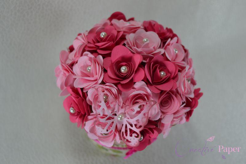 Ghiveci cu Flori din Hartie Roze
