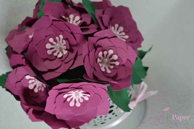 Ghiveci cu Flori din Hartie Violet