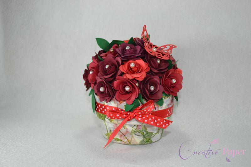 Ghiveci cu Flori din Hartie Red Passion