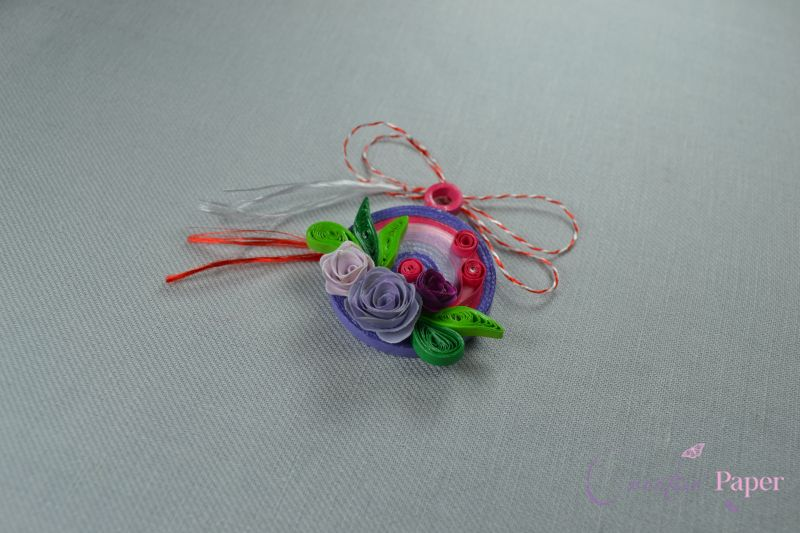 Martisoare Quilling Trandafiri Multicolori