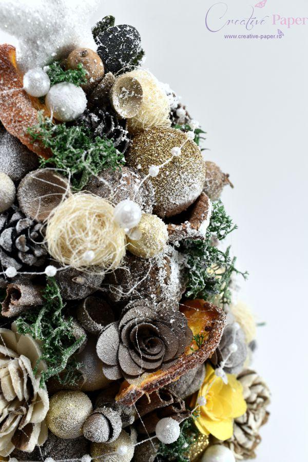 Decoratiuni Craciun Masa Handmade Bradut Auriu