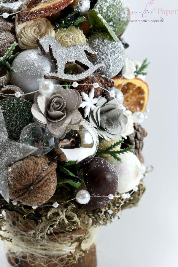 Decoratiuni Craciun Masa Handmade Bradut Argintiu