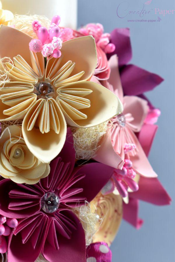 Lumanare Botez Fata Handmade Origami