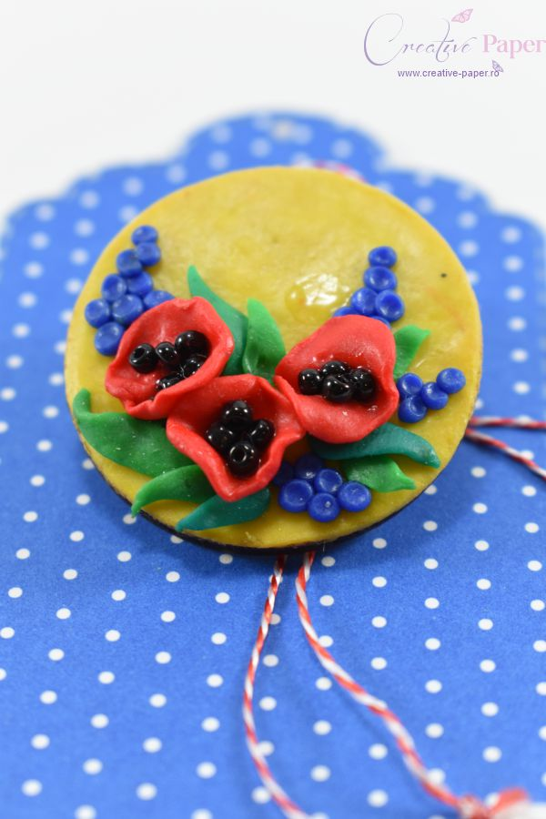 Martisoare Handmade Fimo Flori de Mac Rosii