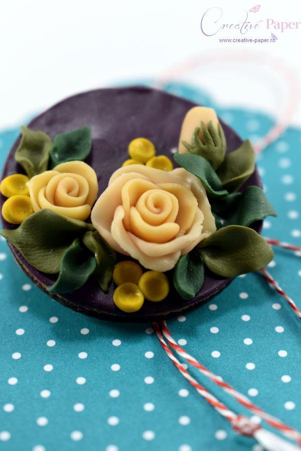 Martisoare Handmade Fimo Trandafiri Crem