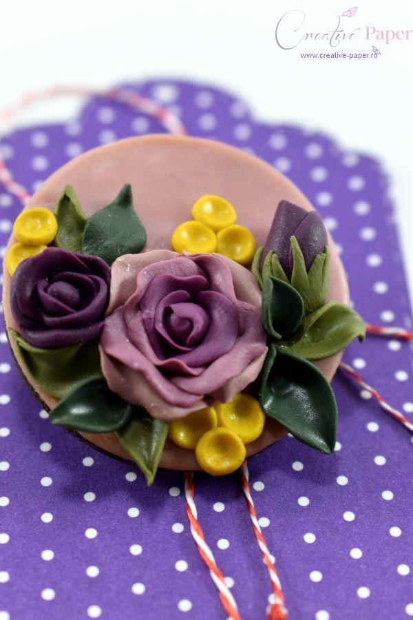 Martisoare Handmade Fimo Trandafiri Mov