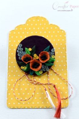 Martisoare Handmade Fimo Flori de Mac Portocaliu