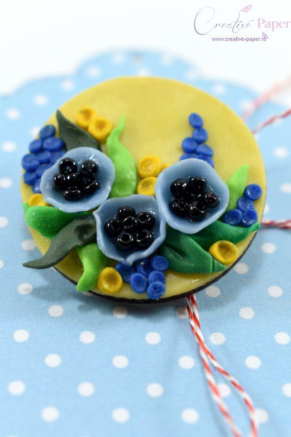 Martisoare Handmade Fimo Flori de Mac Albastre