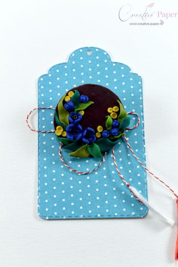 Martisoare Handmade Fimo Floricele Albastre