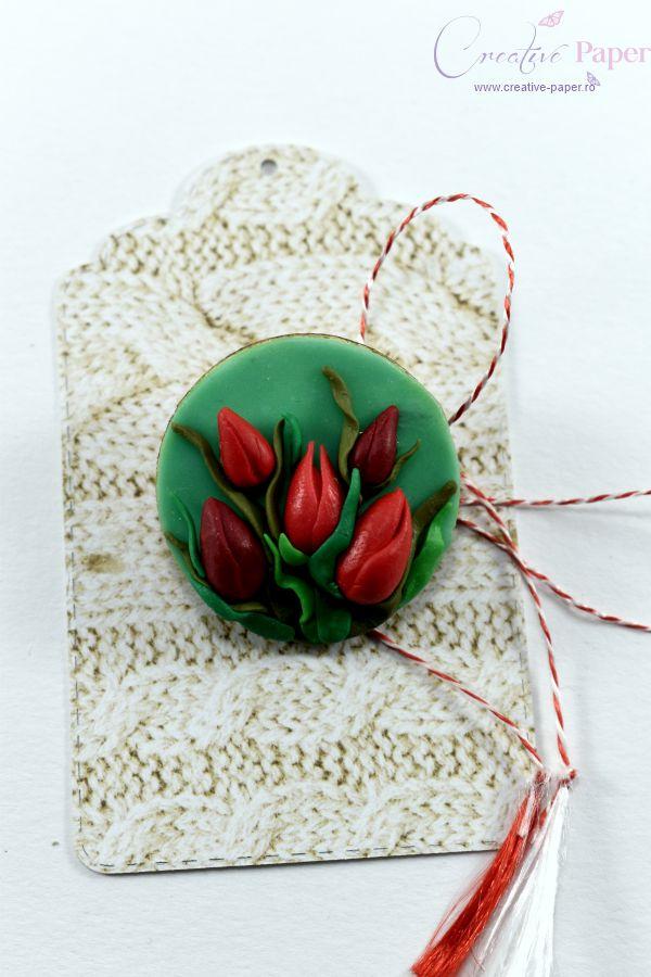 Martisoare Handmade Fimo Lalele Rosii
