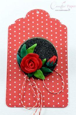 Martisoare Handmade Fimo Trandafir Rosu