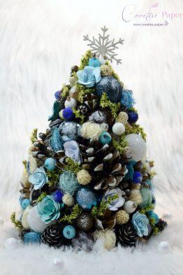Aranjamente de Craciun Handmade Bradut Alb Albastru