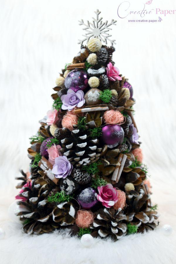 Aranjamente de Craciun Handmade Bradut Roz Mov