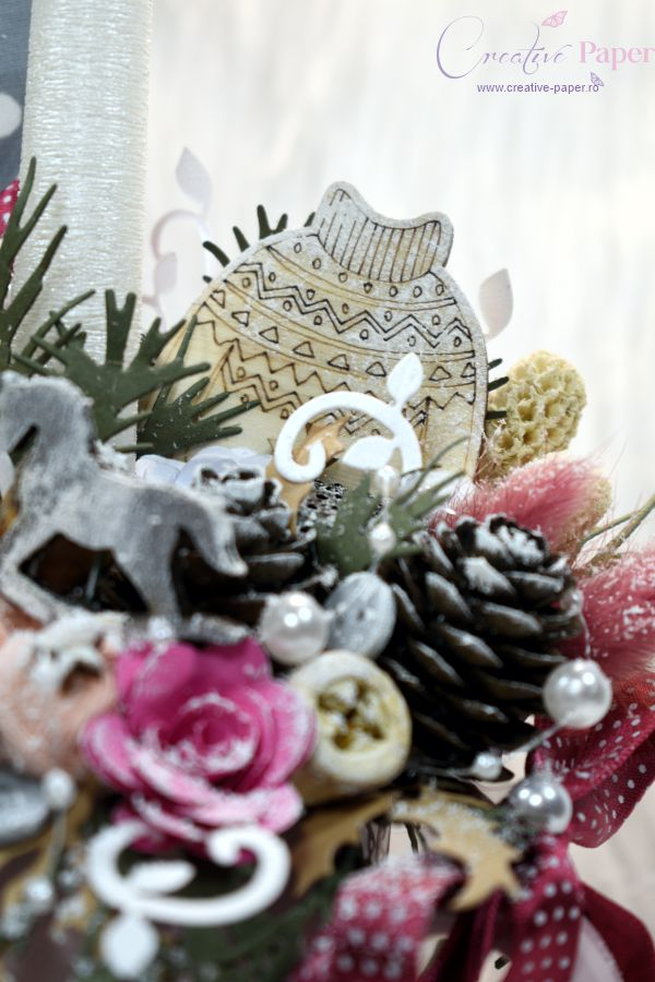 Aranjamente de Craciun Handmade Cana Roz Gri