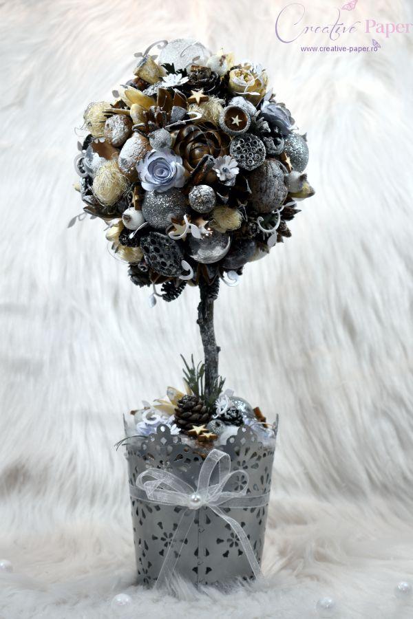 Aranjamente de Craciun Handmade Copacel Argintiu