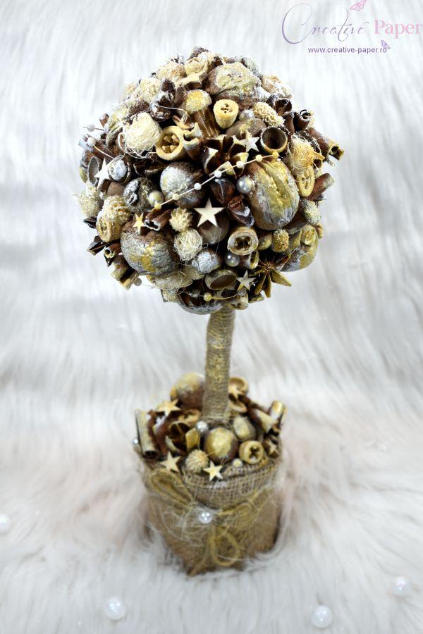Aranjamente de Craciun Handmade Copacel Argintiu Natur