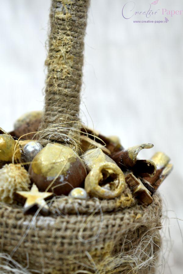 Aranjamente de Craciun Handmade Copacel Auriu Natur