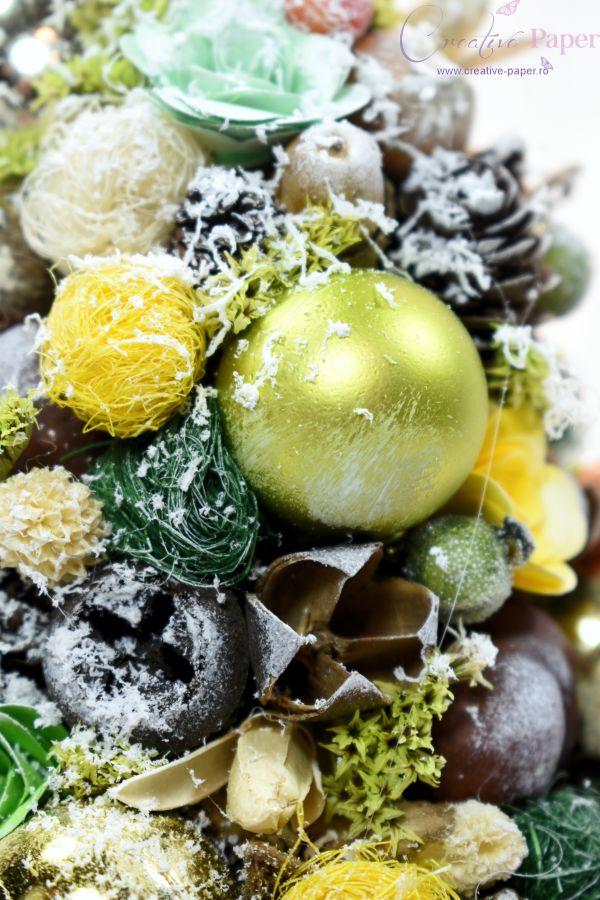 Aranjamente de Craciun Handmade Bradut Verde Galben