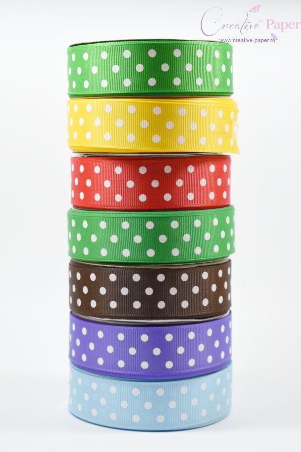 Panglica Decorativa cu Buline Ripsata 25mm