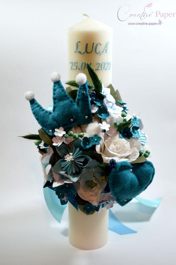 Lumanare Botez Handmade Turquoise